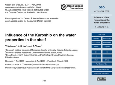 Influence of the Kuroshio on the Water P... by Matsuno, T.
