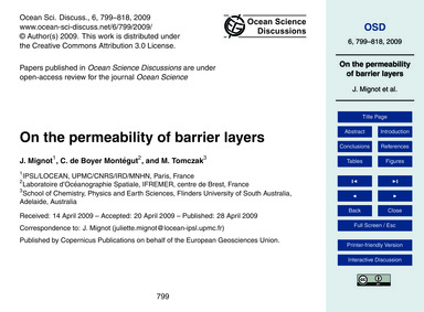 On the Permeability of Barrier Layers : ... by Mignot, J.