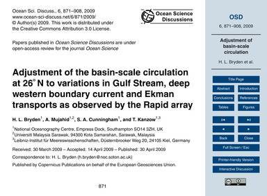 Adjustment of the Basin-scale Circulatio... by Bryden, H. L.