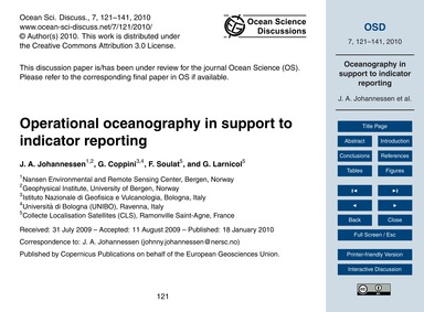 Operational Oceanography in Support to I... by Johannessen, J. A.