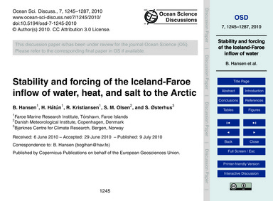 Stability and Forcing of the Iceland-far... by Hansen, B.