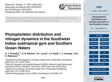 Phytoplankton Distribution and Nitrogen ... by Thomalla, S. J.