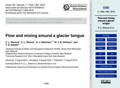 Flow and Mixing Around a Glacier Tongue ... by Stevens, C. L.