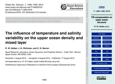 The Influence of Temperature and Salinit... by Helber, R. W.