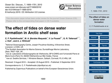 The Effect of Tides on Dense Water Forma... by Postlethwaite, C. F.