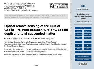 Optical Remote Sensing of the Gulf of Ga... by Katlane Essersi, R.