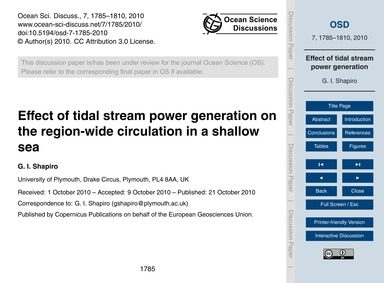 Effect of Tidal Stream Power Generation ... by Shapiro, G. I.