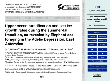 Upper Ocean Stratification and Sea Ice G... by Williams, G. D.