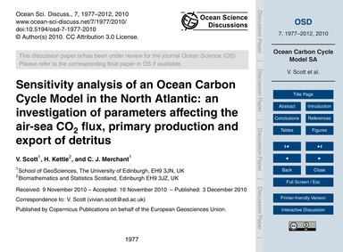 Sensitivity Analysis of an Ocean Carbon ... by Scott, V.