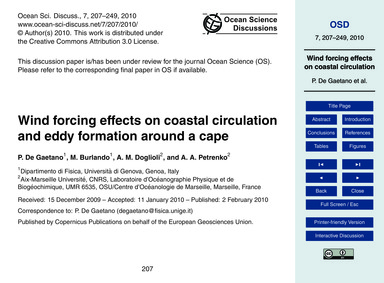 Wind Forcing Effects on Coastal Circulat... by De Gaetano, P.