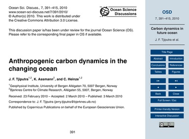 Anthropogenic Carbon Dynamics in the Cha... by Tjiputra, J. F.