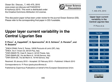 Upper Layer Current Variability in the C... by Picco, P.