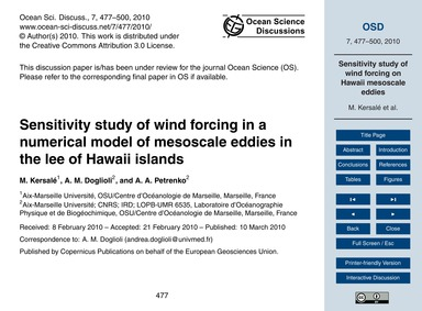 Sensitivity Study of Wind Forcing in a N... by Kersalé, M.