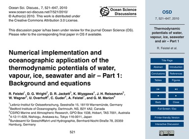 Numerical Implementation and Oceanograph... by Feistel, R.