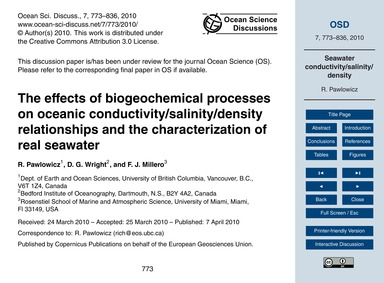 The Effects of Biogeochemical Processes ... by Pawlowicz, R.