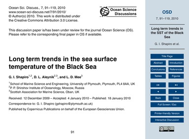Long Term Trends in the Sea Surface Temp... by Shapiro, G. I.