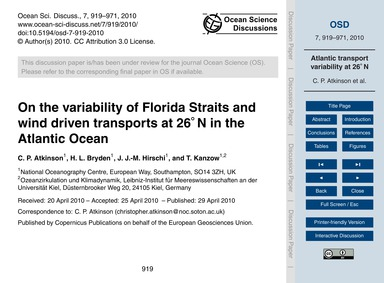 On the Variability of Florida Straits an... by Atkinson, C. P.