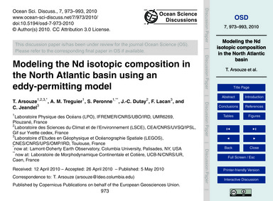Modeling the Nd Isotopic Composition in ... by Arsouze, T.