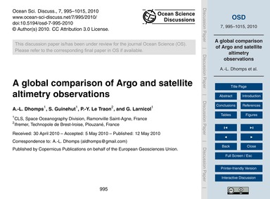 A Global Comparison of Argo and Satellit... by Dhomps, A.-l.