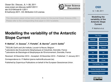 Modelling the Variability of the Antarct... by Mathiot, P.