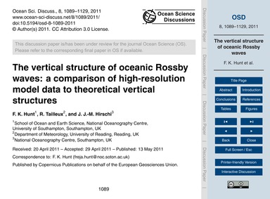The Vertical Structure of Oceanic Rossby... by Hunt, F. K.