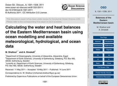 Calculating the Water and Heat Balances ... by Shaltout, M.