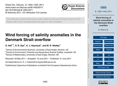 Wind Forcing of Salinity Anomalies in th... by Hall, S.