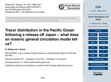 Tracer Distribution in the Pacific Ocean... by Dietze, H.