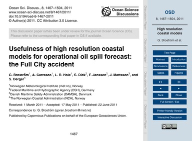Usefulness of High Resolution Coastal Mo... by Broström, G.