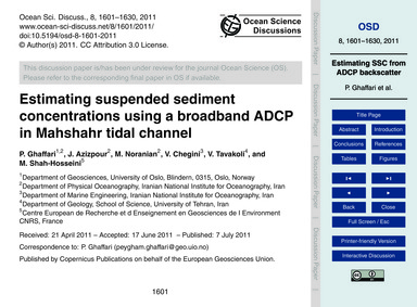 Estimating Suspended Sediment Concentrat... by Ghaffari, P.