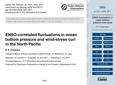 Enso-correlated Fluctuations in Ocean Bo... by Chambers, D. P.