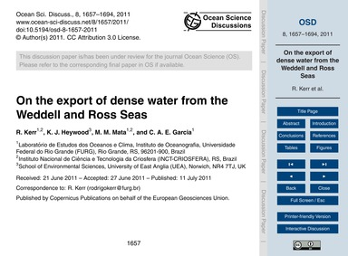 On the Export of Dense Water from the We... by Kerr, R.