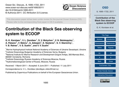 Contribution of the Black Sea Observing ... by Korotaev, G. K.