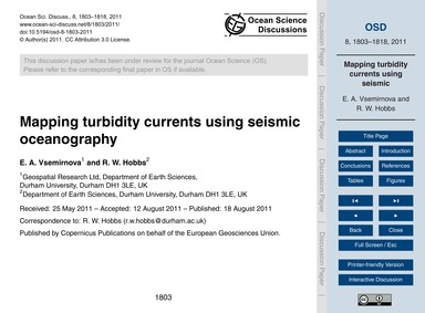 Mapping Turbidity Currents Using Seismic... by Vsemirnova, E. A.