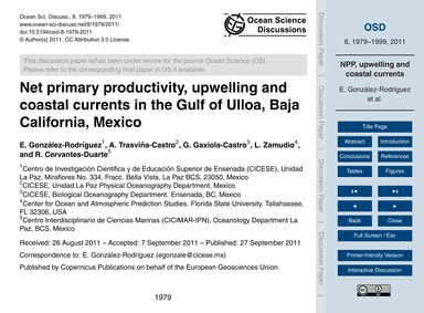 Net Primary Productivity, Upwelling and ... by González-rodríguez, E.