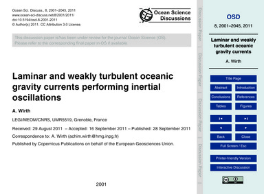 Laminar and Weakly Turbulent Oceanic Gra... by Wirth, A.