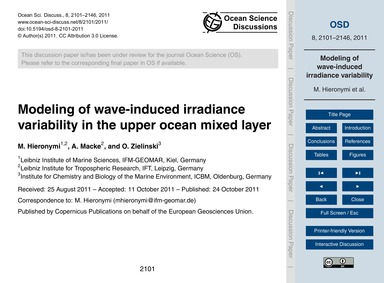 Modeling of Wave-induced Irradiance Vari... by Hieronymi, M.