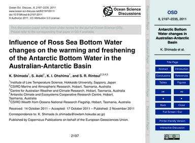 Influence of Ross Sea Bottom Water Chang... by Shimada, K.