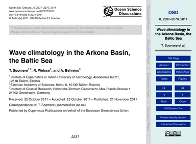Wave Climatology in the Arkona Basin, th... by Soomere, T.