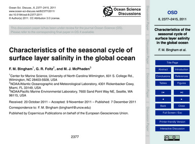 Characteristics of the Seasonal Cycle of... by Bingham, F. M.
