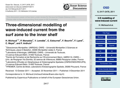 Three-dimensional Modelling of Wave-indu... by Michaud, H.