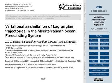 Variational Assimilation of Lagrangian T... by Nilsson, J. A. U.