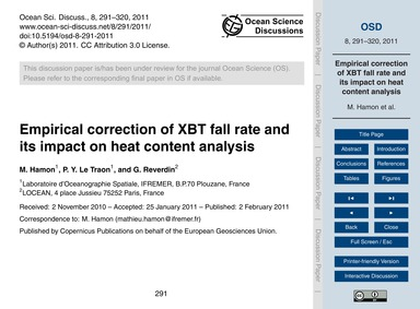 Empirical Correction of Xbt Fall Rate an... by Hamon, M.