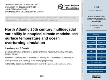 North Atlantic 20Th Century Multidecadal... by Medhaug, I.