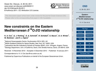 New Constraints on the Eastern Mediterra... by Cox, K. A.