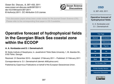 Operative Forecast of Hydrophysical Fiel... by Kordzadze, A. A.