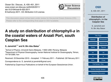 A Study on Distribution of Chlorophyll-A... by Jamshidi, S.