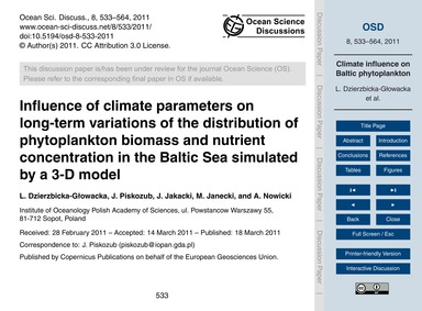 Influence of Climate Parameters on Long-... by Dzierzbicka-głowacka, L.