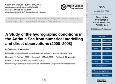 A Study of the Hydrographic Conditions i... by Oddo, P.