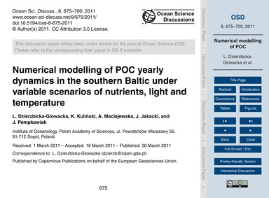 Numerical Modelling of Poc Yearly Dynami... by Dzierzbicka-glowacka, L.